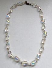 Antiguo Art Deco Checa? de Vidrio Transparente Cristal Facetado Collar Aurora boreal