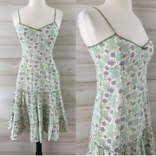 Anthropologie Odille ivory green purple thistle floral boho hippie dress 2 S