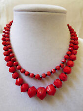 "VTG CRANBERRY RED GLASS FACETED GRADUATED BEADS STRANDS NECKLACE 27""L"