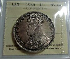 Canada 1936 Silver Dollar  ICCS MS 64 Choice BU Original Toned