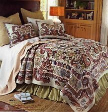 Multi-color French Tapestry Queen bed coverlet with accessory pillow shams