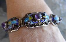 ANTIQUE CHINESE EXPORT  SOLID SILVER FILIGREE BRACELET AMETHYST & ENAMEL