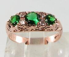 LARGE ENGLISH 9K 9CT ROSE GOLD GARNET TSAVORITE & DIAMOND RING