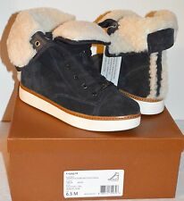 New $298 Coach Ramsey Shearling/Grograin Hi Top Sneaker Boot sz 6.5