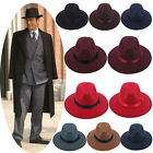 Men Women Hats Caps Panama Fedora Trilby Straight Wide Brim Hard Felt Size L