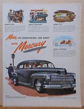 Vintage 1946 magazine ad for Mercury -gray 4-door and traffic cop, colorful