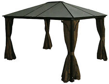 Alu. Hard Top Gazebo Casa - 10x12, Privacy Curtains + Mosquito Netting Incld