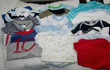 Lot of 19 boy 0-3M 3M 1-2 pc set 7-onesies/body suits 6-body suits 4-rompers GUC