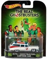 HOTWHEELS RETRO GHOSTBUSTERS ECTO1 CARTOON CAR REAL RIDER RUBBER WHEELS..