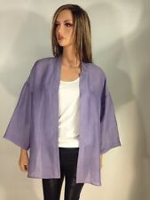 Eileen Fisher Purple Linen & Silk Blouse Kimono, Size M