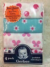 Gerber 4 Pack Girls Prefolded Cloth Diapers Burp Cloths Butterflies, Flowers NEW