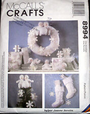 McCalls Crafts 8994 Sewing Pattern Snow Babies Christmas Stocking Ornaments UC