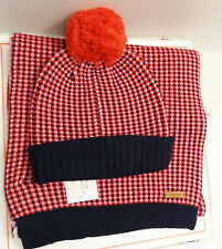 NWT Coach 85213 Hat 85218 Tricolor Tuck Stitch Scarf Set Red Multicolor