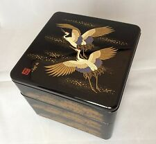 Authentic Japanese 3 tier Jyubako lacquered lunch food box, cranes (R795)