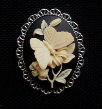 Butterfly Cameo Brooch Cream on Black Silver Tone Setting 45mm