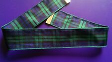 Tartan 25mm ribbon choker necklace vintage silver tone lobster clasp goth 8