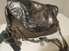 NWT $698.00 TYLIE MALIBU ALL LEATHER PYTHON PRINT COINS CHAINS LARGE CROSS BODY