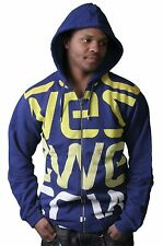WeSC Blue Yellow White Logo Biggest Zip Up Hoodie Size: 2XL