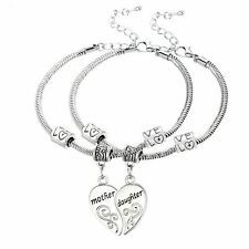 Family Mother & Daughter Love Heart Bangle Bracelet Charm Women Jewelry