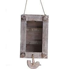 Little Bird White wash Wooden Key hooks box Limed Storage Cabinet chic Shabby