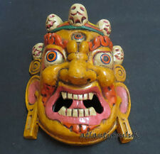 M210 mano Craft Protettore Mahakala Bhairav Muro Appeso Regalo Maschera in Legno Nepal