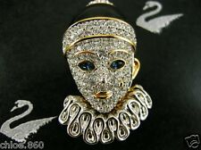 SIGNED SWAROVSKI CRYSTAL PIERROT PIN ~ BROOCH RARE RETIRED NEW 22KT GOLD PLATING