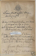 Grace Greenwood Author 1887 Hand Written Poem Signed / City of Chicago Steamship