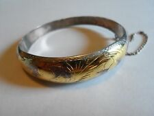 Vintage Made In Thailand Sterling Silver & Gold Tone Clamp Bangle Bracelet