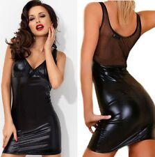 Neu Damen Vinyl Kleid Gogo fetisch Bondage Lack Latex Wet look Partykleid Domina
