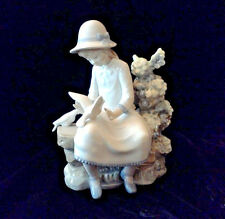 Lladro Porcelain Figurine by NAO  Girl on Bench With Doves