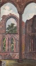 FOUNTAINS ABBEY YORKSHIRE Antique Watercolour Painting 1876