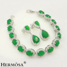 75% OFF Jewelry Sets 925 Sterling Silver Natural Emerald Bracelets Earrings