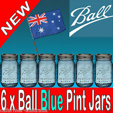 6 x Ball Mason Heritage Blue Pint Preserving Canning Candle Making Jars