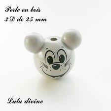 Perle en bois de 25 mm, Perle 3D Tête de souris : Gris clair / Gris clair