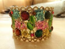 Vintage Gold  Multi Color Enamel & Rhinestone Flower Wide Cuff Bracelet 44.3 Gr.