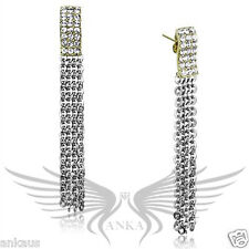 Brilliant Top Grade Crystals Accented Drop Chain Stainless Steel Earrings TK1478