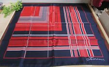 "VTG FIORINI Red White & Blue Polyester Scarf w Brass Charm, 31"" SQ ~PATRIOTIC"