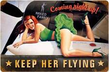 Keep Her Flying Pin Up Girl Distressed Metal Sign ManCave Garage Body Shop HB003