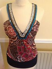 EYE CATCHING BABY PHAT STRAPPY PARTY TOP, ATTRACTIVE NECKLINE UK SIZE XS BNWT
