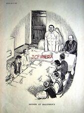 """1953 USSR Molotov Punch Political Cartoon Print - """"Dinner at Malenkov's"""""""