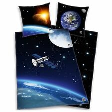SPACE SATELLITE DUVET COVER NEW SOLAR SYSTEM KIDS BEDDING 100% COTTON