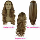 Ladies 3/4 WIG Half Fall Clip In Hair Piece Medium Brown/Blonde Mix #6/613