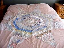 """ANTIQUE PATCHWORK QUILT SHABBY CUTTER FEEDSACK PRINTS HAND TIED 69X77"""""""
