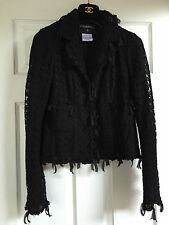 CHANEL 05C Tweed Tulle Lace Ribbon Embellishments Camellia buttons Jacket FR36
