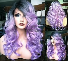 USA: Pastel Purple Lavender HEAT OK Lace Front Cosplay Wig Dark Root