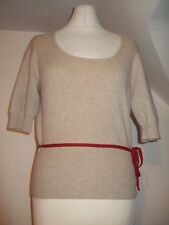 Mesdames tse beige rouge 100% cashmere pull taille m 10/12