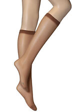 4 Pairs Womens Ladies Natural Brown Plain Knee High Nylon Pop Socks  30 Denier
