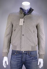 NWT New * BRIONI * Brown-Beige Reversible Leather-Silk Diamond Quilted Jacket 40