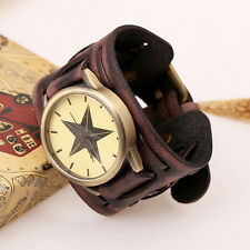Cool Retro Punk Rock Wide Band Artificial Leather Bracelet Cuff Wrist Watch Male