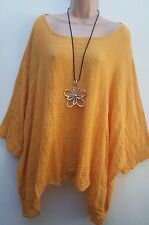 New  Italian Lagenlook Mustard Loose cotton Kaftan Tunic Top Onesize 18 20 22 24